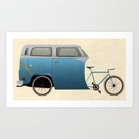 Camper Bike Art Print
