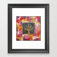 Autumn Window - Bronze Tree Painting Framed Art Print