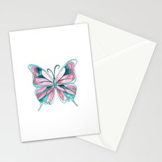 Pink and Blue Watercolor Butterfly Stationery Cards