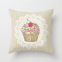 Girly Pink Cute Kawaii Cupcake Lace Stripe Pattern Throw Pillow