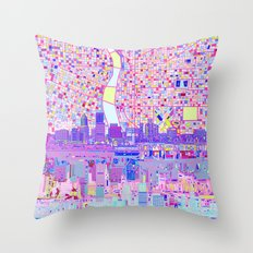 portland city skyline Throw Pillow
