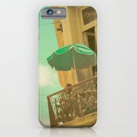 iPhone Cases featuring Vintage Turquoise Summer Umbrella (Retro and Vintage Urban Photography)  by AC Photography