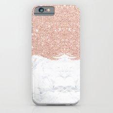 Trendy modern faux glitter rose gold brushstrokes white marble  iPhone 6 Slim Case