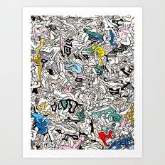 Kamasutra LOVE Doodle Closeup Color Art Print