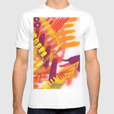 Yellow on Orange SMALL White Mens Fitted Tee