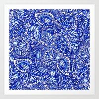 Modern Blue Handdrawn Wa… Art Print