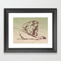 Lion Artwork Vintage Framed Art Print