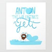 Anton, the Valentine´s Yeti Art Print