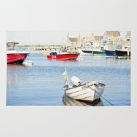 Boats Reflecting in Harbor in Nantucket Rug