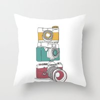 Stacked Cameras Throw Pillow