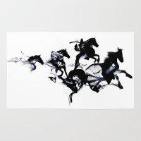 Black horses Rug