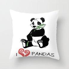 I Love Pandas Design Throw Pillow
