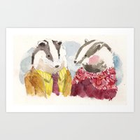 Badger Couple Art Print