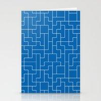 White Tetris Pattern on Blue Stationery Cards