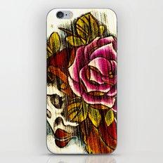 Tattoo Flash grunge....skull rose iPhone & iPod Skin