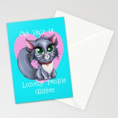 Cat Hair is Lonely People Glitter Stationery Cards