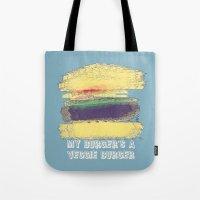 Veggie Burger (blue) Tote Bag