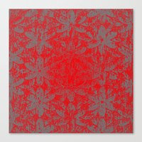 Snowy Red Halftone Flowers Canvas Print