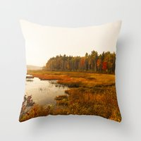 Autums Peaceful Tomorrow - New England Fall Landscape Throw Pillow