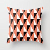 Salmon & black triangle mid-century pattern Throw Pillow