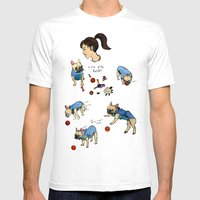 French Bulldog Playing W… Mens Fitted Tee White SMALL