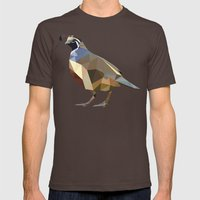 Geometric Quail Mens Fitted Tee Brown SMALL