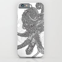 iPhone & iPod Case featuring Octopus Bloom black and white by Valentina Harper