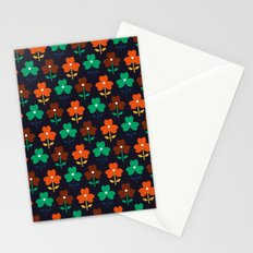 Multy retro flowers black Stationery Cards