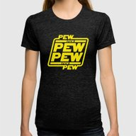 Pew Pew Pew Womens Fitted Tee Tri-Black LARGE