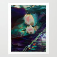 Water Lilies in Turquoise and Purple Art Print