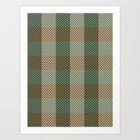 Pixel Plaid - Birch Forest Art Print