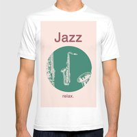 Jazz Relax And Play Sax Mens Fitted Tee White SMALL