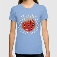 Red Abstract Tulip Womens Fitted Tee Tri-Blue SMALL