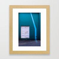 White Door Blue Wall Framed Art Print