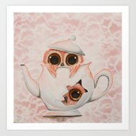 Art Print featuring Teapot Owls by Annelies202