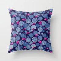Red Panda Forest - Blue Throw Pillow