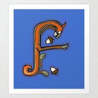 Medieval Squirrel Letter F Art Print
