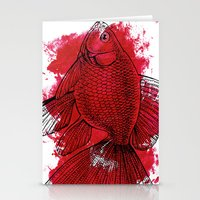big red fish Stationery Cards