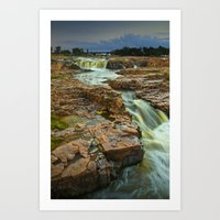 Cascading Waterfalls photographed at dusk in Falls Park Sioux Falls Art Print