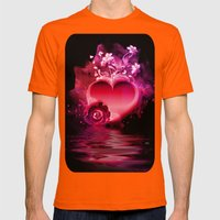 Flooding Heart Mens Fitted Tee Orange SMALL