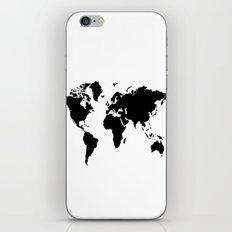 Black and White world map iPhone & iPod Skin
