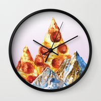 Pepperoni Pizza Peaks Wall Clock