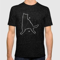 Kiki Kitty Cat in Outer Space Mens Fitted Tee Tri-Black SMALL