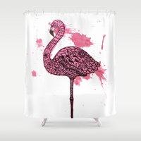 Flamingo Watercolor Print Shower Curtain