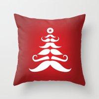Santa's Mustache Christm… Throw Pillow