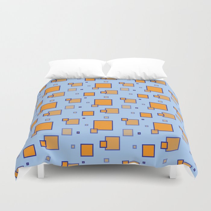 Orange And Blue Squares Duvet Cover By Kat Mun Society6