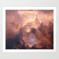 Galaxy space deer Art Print