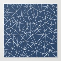 Abstraction Outline Navy Canvas Print