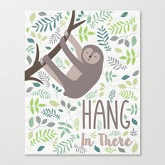 Sloth Hang In There Illustration Canvas Print