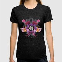 Flower Love Womens Fitted Tee Tri-Black SMALL